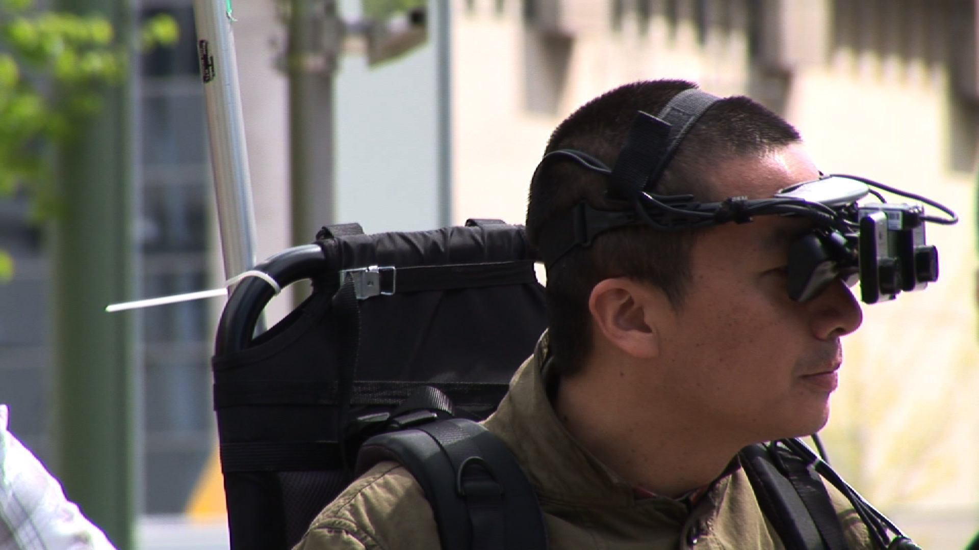 man wearing augmented reality headset
