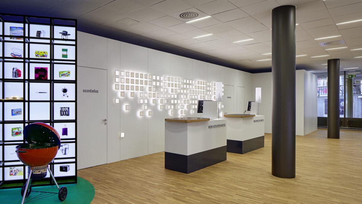 Interactive OLED installation at MyNAB Shop