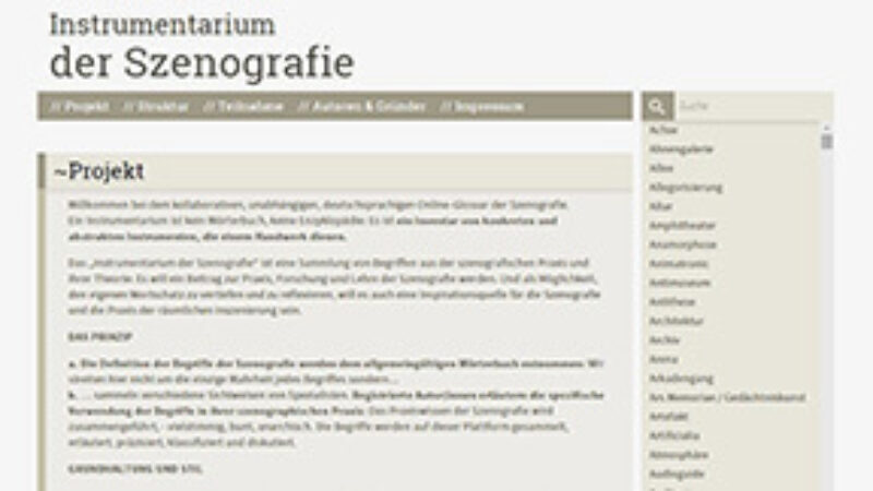 Screen shot website Instrumentarium der Szenografie