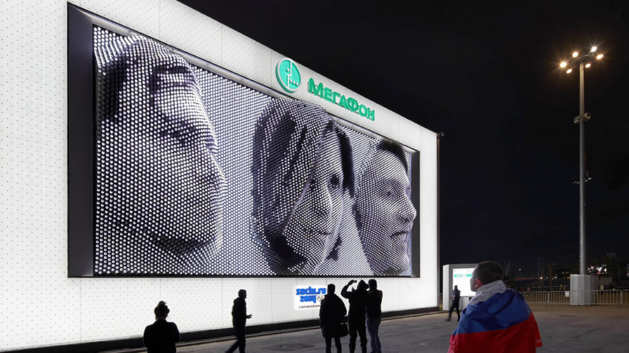 MegaFaces facade at the Sochi Olympic Winter Games