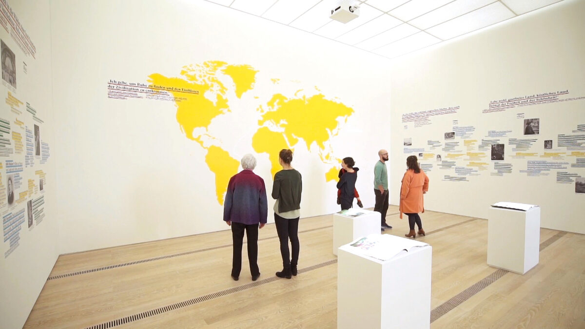 Fondation Beyeler Paul Gauguin Exhibition Multimedia Room Interactive Books Wall Projection Map