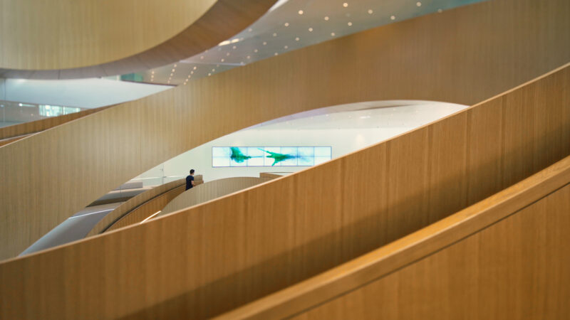 IOC Lausanne Agora Curved Screens embedded in Wall