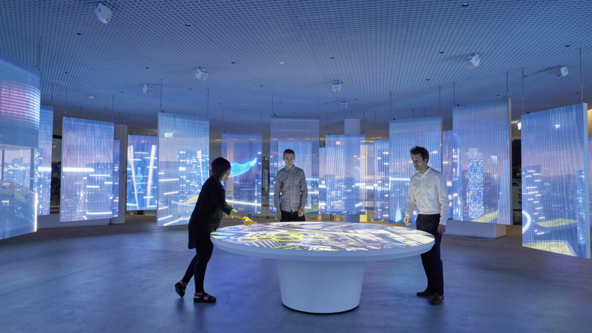 Schindler City Center Futurescape Immersive Installation Transparent LED-Grids, Projection Table